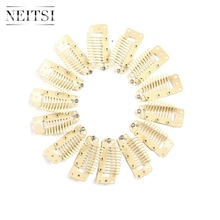 Neitsi I Shape Clips Stainless Steel Hair Snap for Feather Clip In Extensions Wigs Weft 3.2cm 50pcs/pack 3 Colors