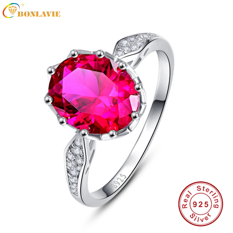 BONLAVIE Classic Oval 2.5ct Natural Red Ruby Birthstone Solitaire Ring Genuine 925 Sterling Silver Fine Jewelry Ruby Ring Gift ...