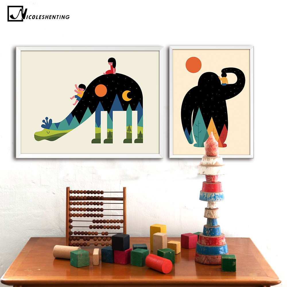 Nordic Cartoon Animal Canvas Art  1