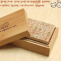 2013 Toto Lovely Rabbit The Wooden Box Seal Stamps 40 Pcs Set Free Shipping