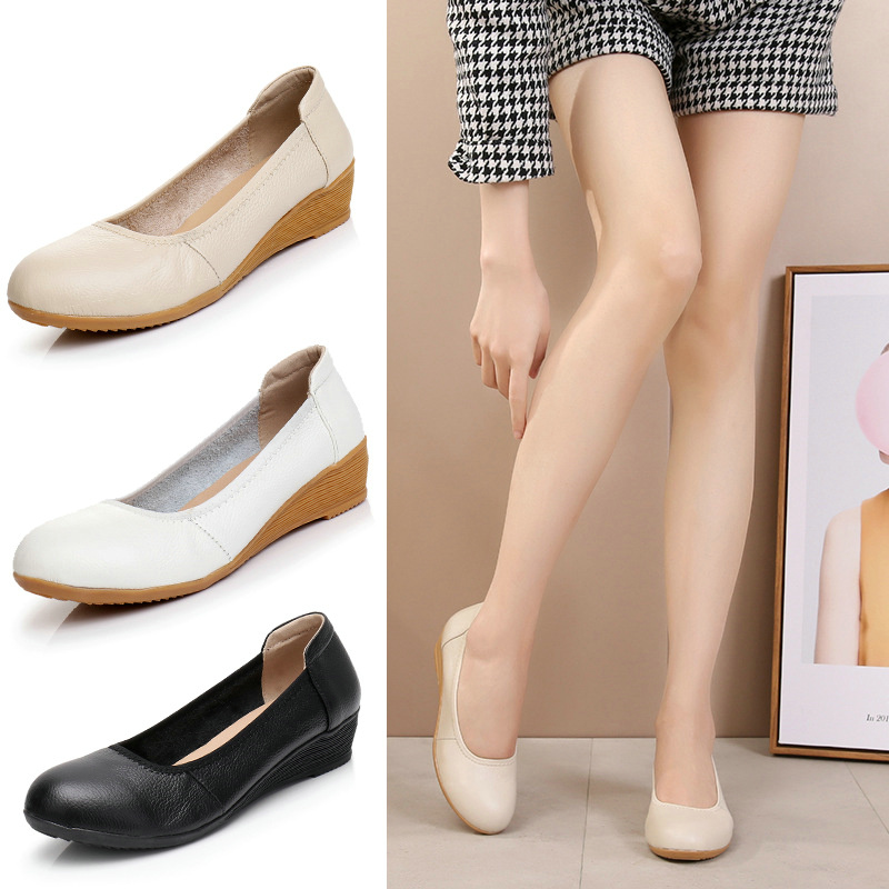 Pumps Shoes Summer New White And Spring Cowhid Shallow Round-Head Comfortable