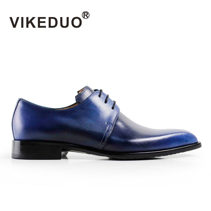 Vikeduo 2019 Hot Handmade Designer Vintage Fashion Casual Party Blue Dance Wedding Male Dress Genuine Leather Mens Derby Shoes