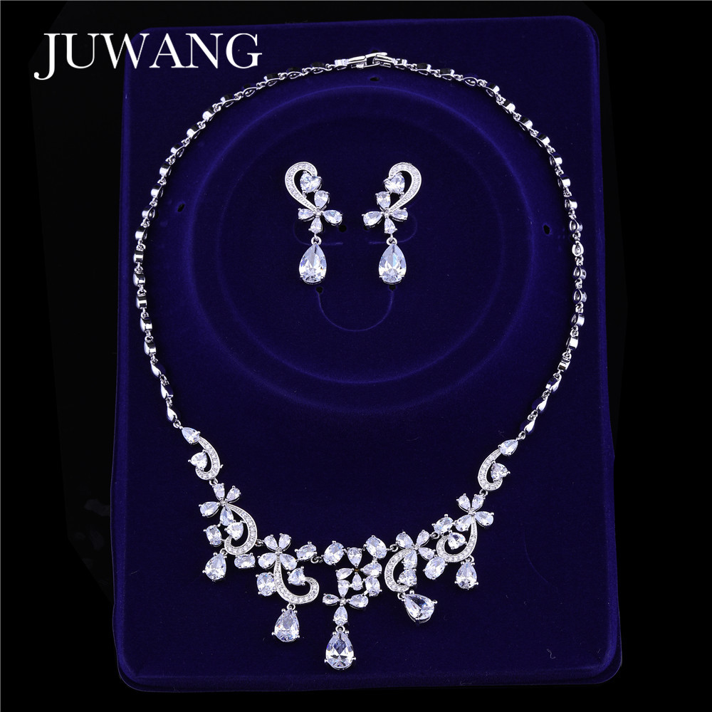 JUWANG Brand Necklace Earrings Bridal Zirconia Jewelry Sets For Women Water Drop Nigeria CZ Crystal Wedding Jewelry Sets