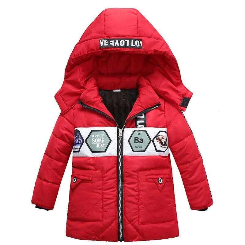 От 3 до 6 лет Детская одежда зимняя куртка новый мальчик тенденция печати хлопчатобумажное пальто письмо куртка с капюшоном