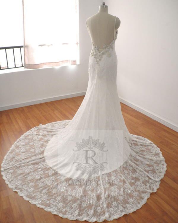 free shipping sexy backless romantic 2017 casamento beading vestido de noiva vintage mermaid lace wedding dress Bridal Gown in Wedding Dresses from Weddings Events