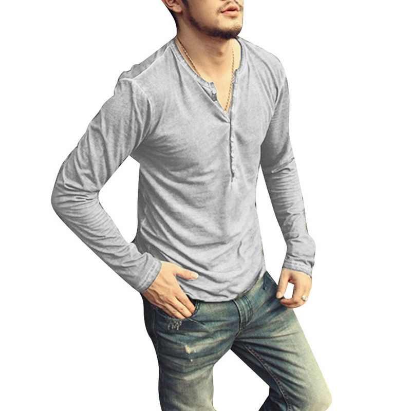Oeak Mannen Lange Mouw V-hals Henley Shirts 2019 Nieuwe Effen Kleur Toevallige Losse Slim Fit Knop Trui Mannelijke Comfortabel Basic tops