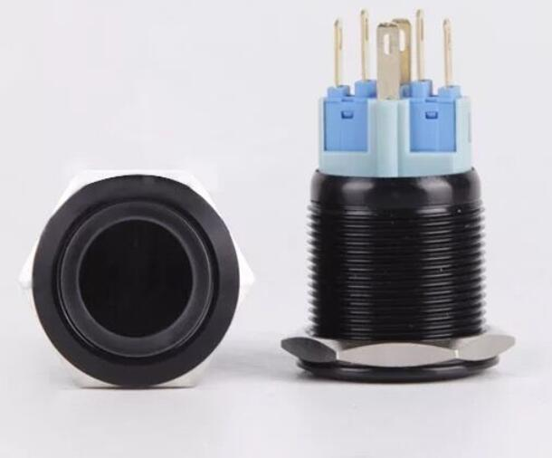 50PCS 22MM Black Metal Switch Glowing Ring Push Button With LED 12V24V No Locking Momentary Click for Car Dash Flat Head