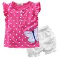 Детская Одежда Устанавливает Летний Ребенок Девушки Малышей Цветок Точка Случайные Короткими Рукавами Топы Майка Короткие Шаровары Брюки