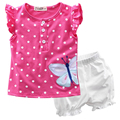 Children Clothing Sets Summer Baby Girls Toddler Flower Dot Casual Short Sleeve Button Tops T Shirt Short Bloomers Pants