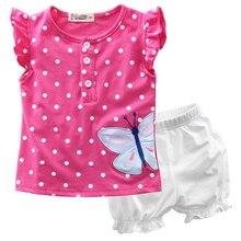 Children Clothing Sets Summer Baby Girls Toddler Flower Dot Casual Short Sleeve Button Tops T Shirt Short Bloomers Pants