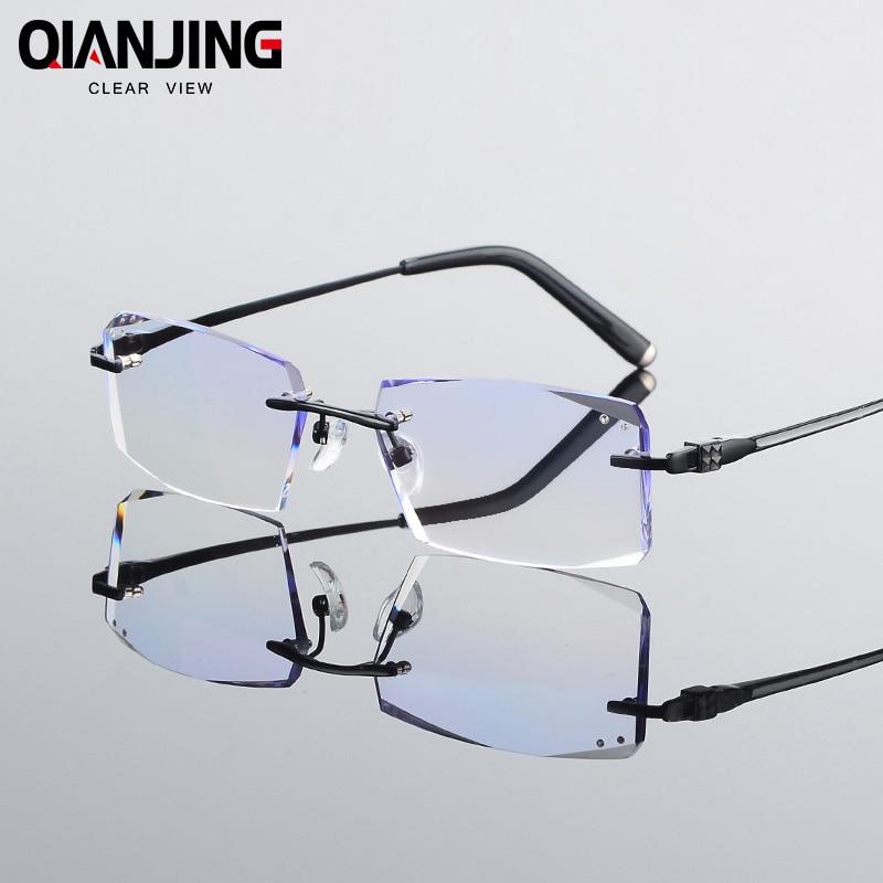 QJ Luxurious Glasses Optical Eyeglasses Men Rimless Myopia Prescription Anti Radiation Brand Clear Hyperopia Eye Glasses 8801