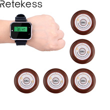 5pcs White Button Pager +1 Black Watch Receiver Wireless Restaurant Hotel Waiter Calling System F3232A цена