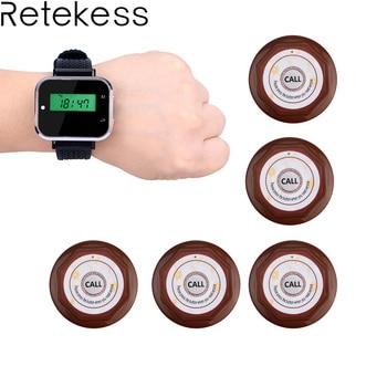 Relógio Receptor + 5 1 pcs Botão de Chamada Pager Sistema de Chamada Sem Fio Equipamentos de Restaurante Garçom Chamando Sistema F3360