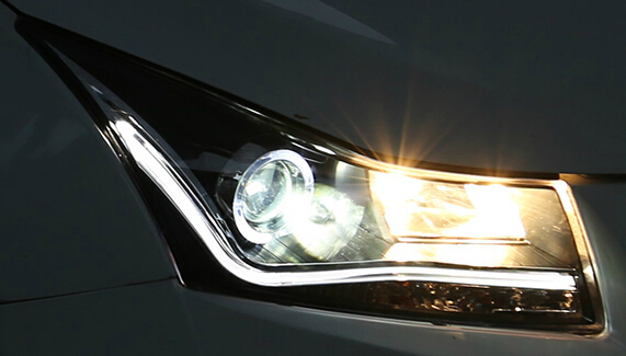 1 пара светодиодные фары в сборе Светодиодные ангельские глазки одиночные линзы светодиодные передние лампы подходят для chevrolet cruze 2010' up