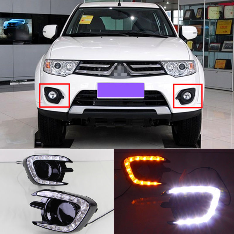 Free Shipping Pair of LED Car Lights DRL Daytime Running Light WithTurn Light For MITSUBISHI Pajero Sport 2013 2014 2015 free shipping vland factory for mitsubishis 2013 2014 2015 pajero sport drl led daytime running light with turn lights