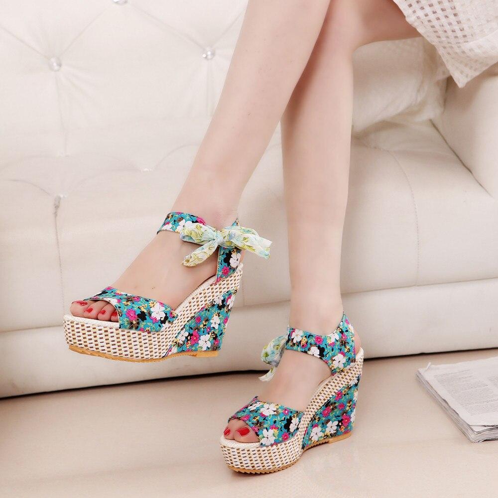 Fashion Sandals Loafers Flip-Flops High-Heel Wedegs Ladies Shoes Summer Women Slope Floral