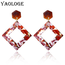 YAOLOGE Acrylic Earrings Unique Personality Oval Hollow Bohemian Style For Women Dangler Fashion Jewelry NEW