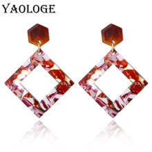 YAOLOGE Acrylic Earrings Unique Personality Oval Hollow Bohemian Style For Women Dangler Fashion Jewelry NEW(China)