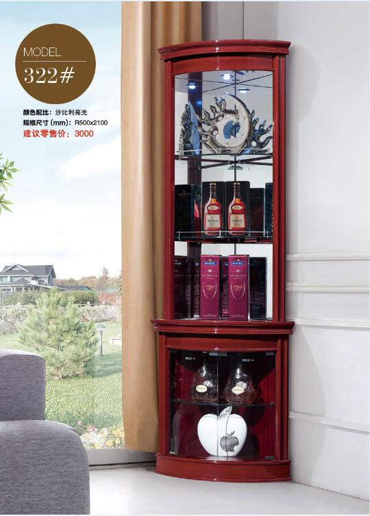 322# Living room furniture round corner display showcase wine ...