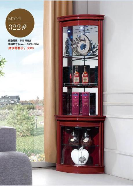 Furniture Cabinets Living Room Cherry Wood 322 Round Corner Display Showcase Wine Cabinet
