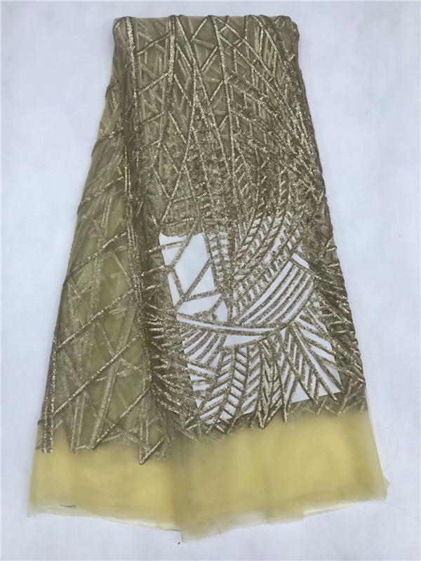 2018 Wedding Gold Sequence Nigerian Lace Fabric Bridal Fashion African French Lace Fabric 5Yards Tulle Mesh