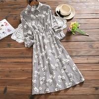 Vintage Mori Girl Corduroy Midi Dress Turn Down Collar Print Long Sleeved Vestidos Femininos Elegant Sweet