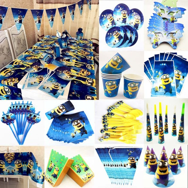 Minions Birthday Party Decoration Favor Idea Halloween Christmas Childrens Day Baby Shower Disposable Tableware Set Decorations
