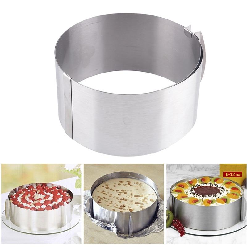 Գործնական խոհարարություն Արծաթափող, չժանգոտվող պողպատից շրջանաձև մուսս օղակի հացաթխման գործիք հավաքածու, տորթի բորբոս