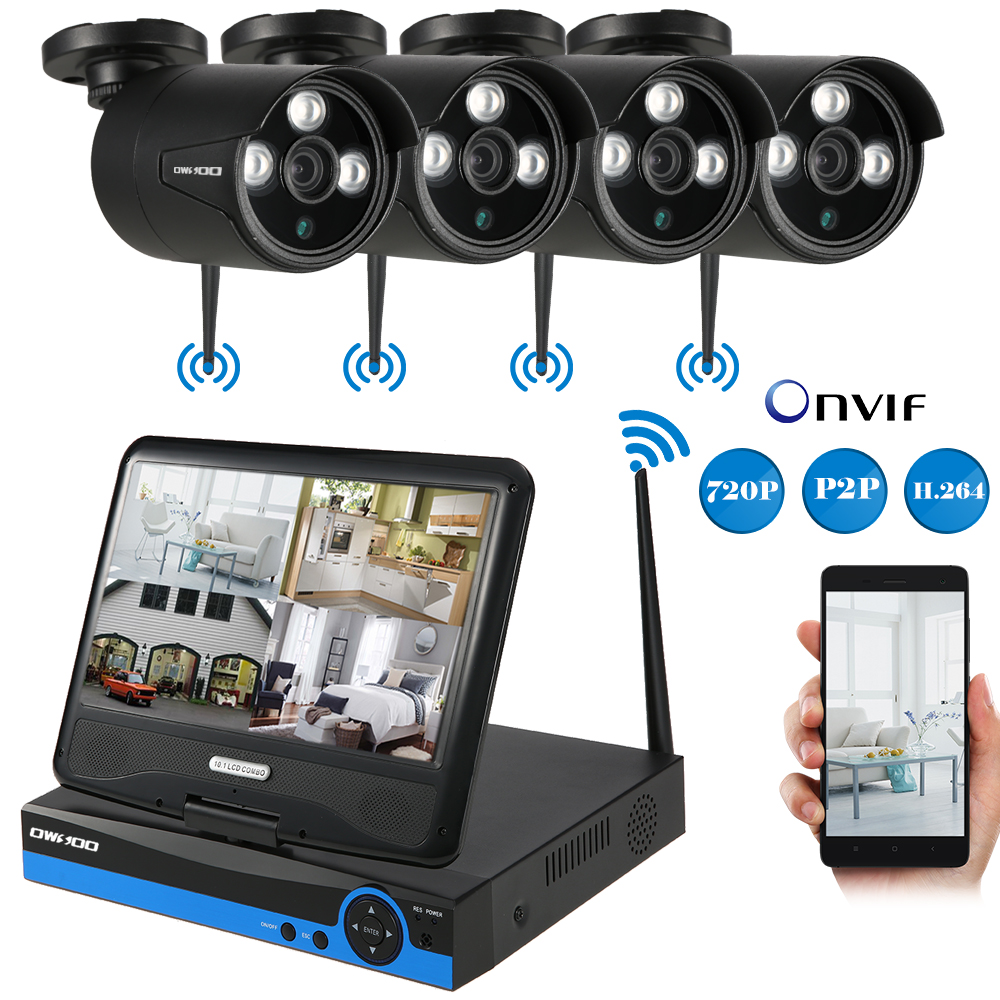 Owsoo 4ch Wireless Camera Surveillance System 10 1 Quot Lcd