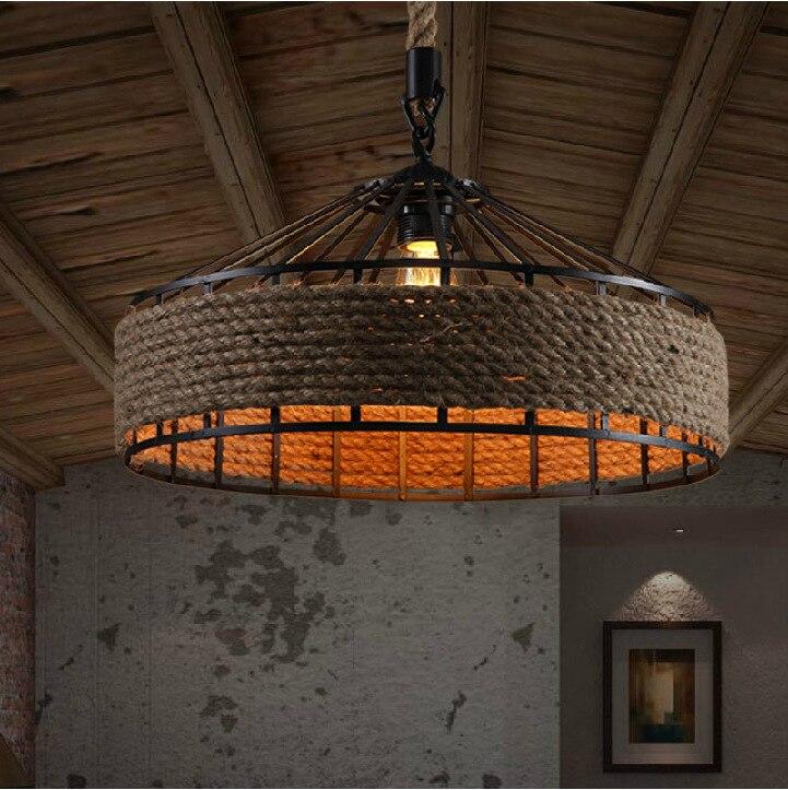 Us 136 0 Retro Pendant Light Lighting Vintage Rope Edison Bulb Loft Lampe Hanglamp Ceiling In