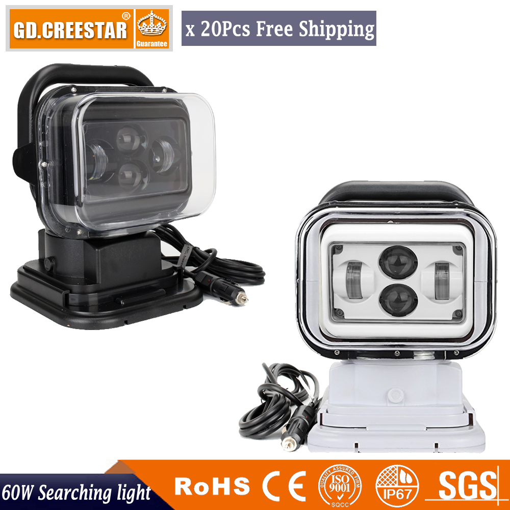 60W Led Search Spot Light 7inch 12V 24V Wireless Remote Control 360degrees rotation for Car SUV boat Marine Camping fishing x20