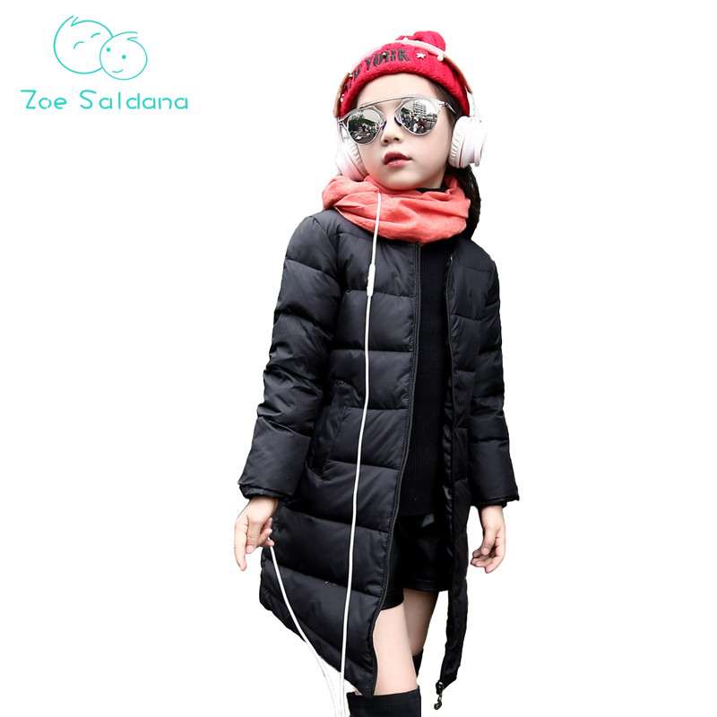Zoe Saldana Girl's Coat 2017 New Fashion Winter O-Neck Solid Girls Casual Warm Outerwear Teenagers White Duck Down Long Coats zoe saldana girl s coat 2017 new fashion winter solid hooded long white duck down casual kids warm detachable fur collar coats