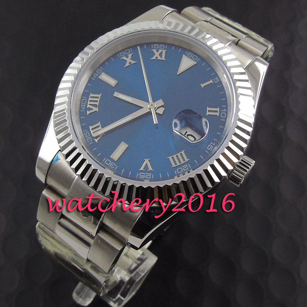 Fashion 40mm Pranis blue dial silver numbers date adjust sapphire glass Automaic self-wind movement Men's business Watch коньки onlitop 223f 37 40 blue 806164