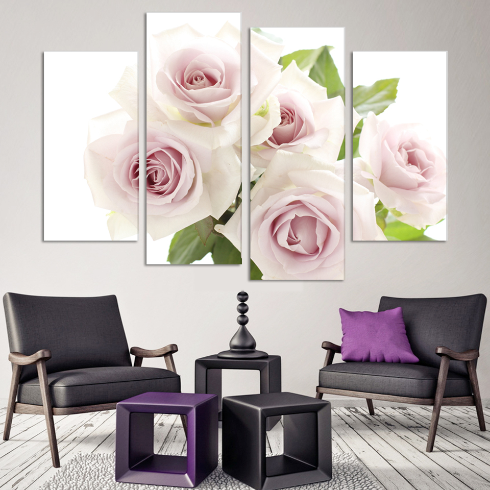 Romantic Rose Flower Living Rome Home Wedding Decoration Contemporary Art  Canvas Prints Modular Pictures Free Shipping