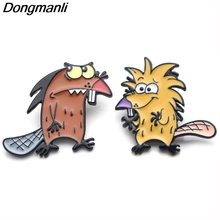 P3769 Dongmanli Cute The Angry Beaver Metal Enamel Brooches and Pins for Lapel Pin Backpack Badge Collar Jewelry