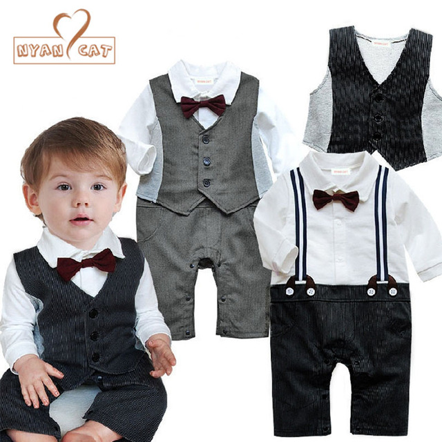 5972f7bf8359 NYAN CAT Baby wedding tuxedo toddler boy suit bow tie romper+Vest black  gray long