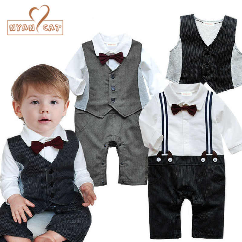 64776627347 NYAN CAT Baby wedding tuxedo toddler boy suit bow tie romper+Vest black  gray long