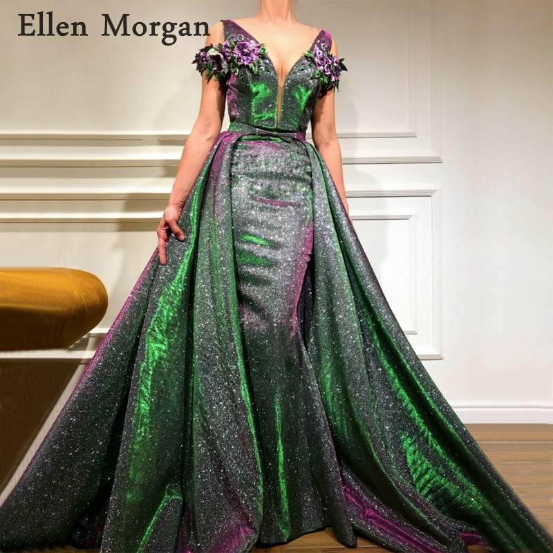 Saudi Arabia Long Evening Dresses 2019 Dubai Kaftan Crystal V Neck Floor Length Sparkling Party Gowns For Women Wear Evening Dresses