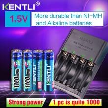 лучшая цена KENTLI 4pcs 1.5v aaa 1180mWh Rechargeable Li-ion Li-polymer Lithium battery + 4 slots AA AAA lithium Smart Charger