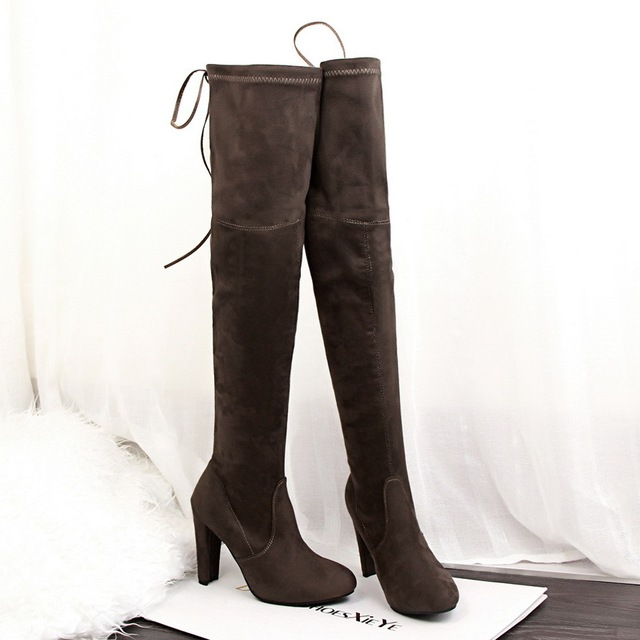 2a21115197c famous brand women over the knee boots thick high heel long boots fashion  designer flock thigh high boots sexy slim botas mujer