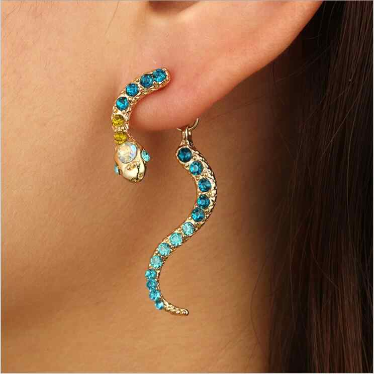 New Promotion Blue Multicolor Rhinestone Snake Stud Earrings Women winding Earrings Bijoux Jewelry Brincos Gift E5131