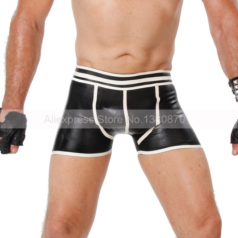Man Rubber Latex Tight Boxer Shorts Male Panties Hot Pants with Hip Open S LPM086