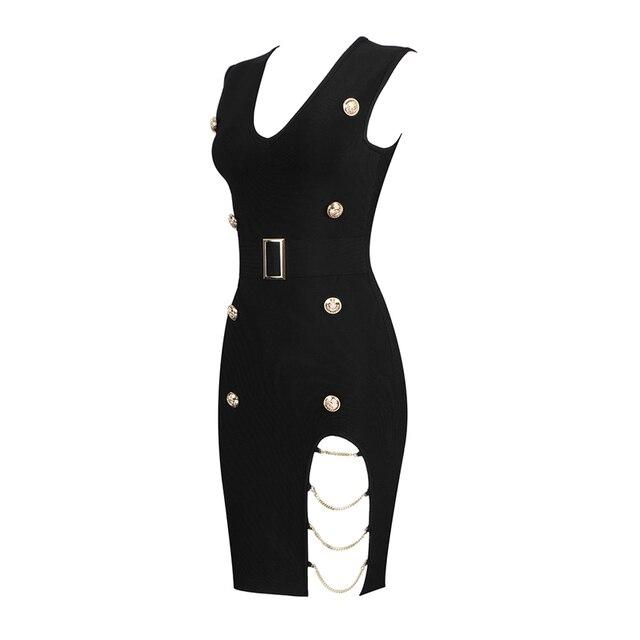 Vestidos Summer Dress Women Sexy Hollow Out Button Black Bandage Dress Women Vesitidos Rayon Bodycon Mini Party Dress 6