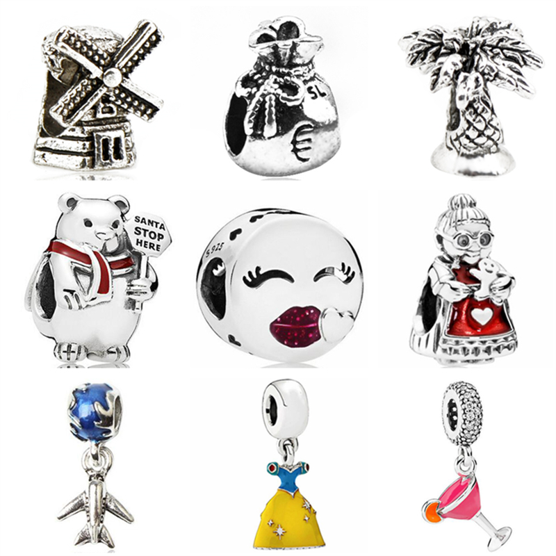 Temperate Btuamb Punk Style Cake Rabbit Bear Smile Grandma Snow White Charm Beads Fit Pandora Bangles Necklaces For Women Making Jewelry