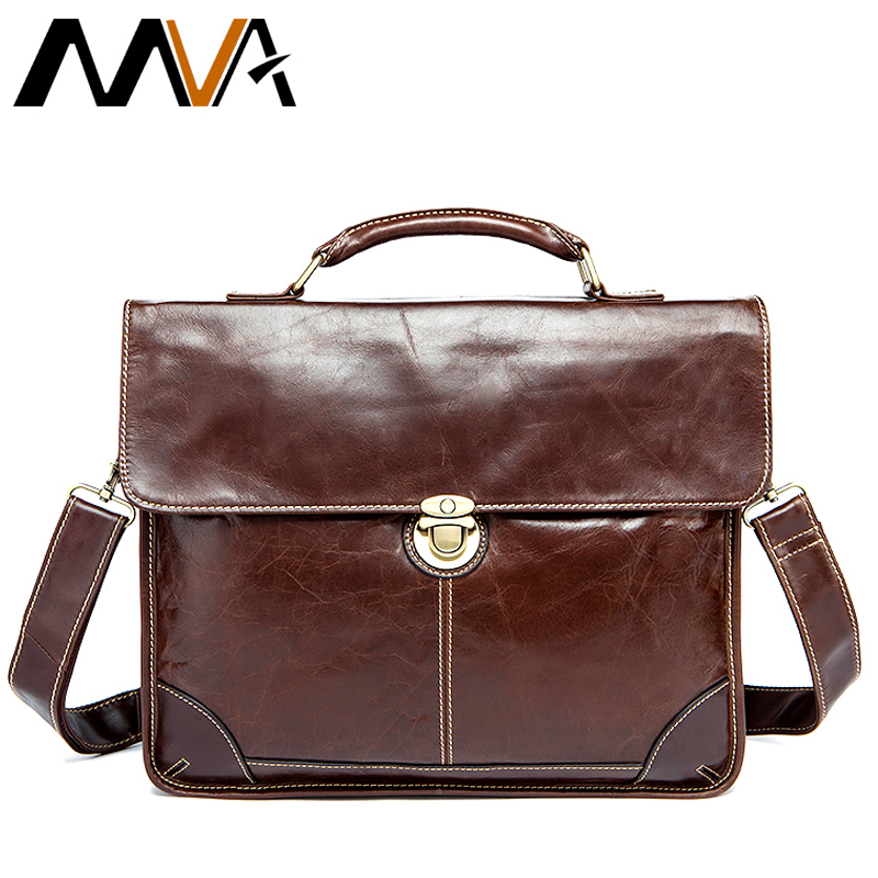 MVA Men's Bag for Documents Leather Briefcase Laptop Handbags Totes Bags Hasp Crossbody Messenger Bags Business Briefcase Men