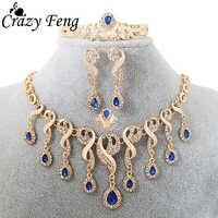 Luksusowa moda afrykański komunikat biżuteria złoty kolor kropla wody naszyjnik kolczyki bransoletka pierścień zestawy biżuterii dla kobiet