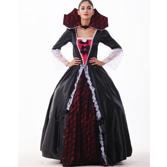 2016 new high quality black queen dress halloween costumes for women sexy vampire witch cosplay carnival - High Quality Womens Halloween Costumes