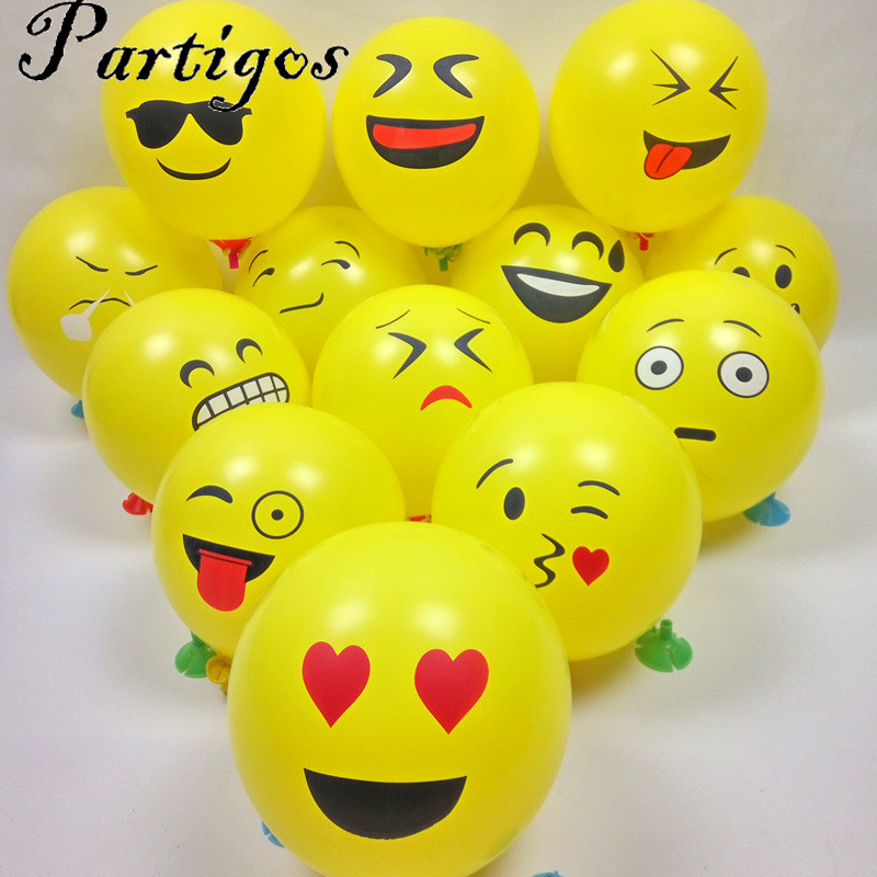 30pcs/lot 12inch Emoji Smiley Face Expression Yellow Latex Balloons Party Wedding decoration orbs Cartoon Inflatable air Balls