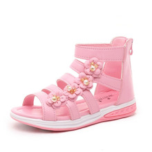 Summer Style Children Sandals Girls Teenage Princess Sweet Flower Shoes Kids  Flat Sandals Kids Girl Roman 4566e5ae9d71