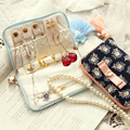 Japanese Style Vintage Feather Tassel Bow tie Knot Jewelry Bag Makeup Cosmetic Storage Bag